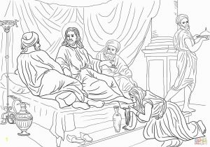 Mary Washes Jesus Feet Coloring Page Mary Anointing Jesus Feet Coloring Page Coloring Pages