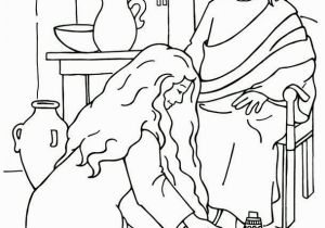 Mary Washes Jesus Feet Coloring Page Woman Washes Jesus Feet Coloring Page