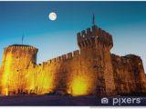 Medieval Castle Wall Mural Full Moon Above Me Val Castle Of Kamerlengo In Trogir Croatia Poster