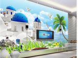 Mediterranean Murals for Walls 3d Wallpaper Custom 3d Wall Murals Wallpaper Mural Mediterranean Aegean Sea Tv Background Wall Decoration Painting Papel De Parede High