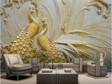 Metal Wall Art Decor 3d Mural Mural Wallpaper 3d Stereoscopic Embossed Golden Peacock