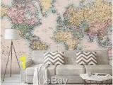 Metal World Map Wall Mural 3d World Map Livingroom Self Adhesive Removable Bedroom