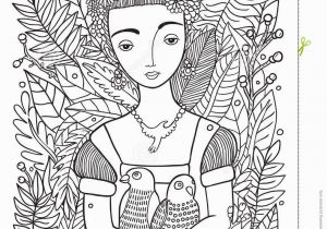 Mexican Coloring Pages for Adults Beautiful Girl with Parrots Coloring Page Stock Vector