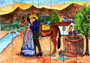"Mexican Mural Tiles Tile Mural ""kissing Couple"" Rustic Kitchens"