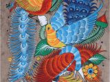 Mexican themed Wall Murals Mexican Painting Of Birds & Flowers Latin Folk Art Craft