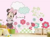 Mickey and Friends Wall Mural Minnie Mouse Wall Mural Minnie Mouse In the Garden Wallpaper Minnie Mouse Pink Wallpaper Wall Decal Nursery and Room Décor Wall Art