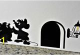 """Mickey Mouse Wall Murals Uk Cartoon Decal Mouse Hole Wall Sticker """" Gus and Jaq the Cinderella Mice with Yellow Flame """" Skirting Board Wall Art Sticker Vinyl Decal """" 20cm X 6cm"""