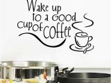 Milk and Coffee Wall Mural Bibitime English Inspirational Sayings Wake Up to A Good Cup Coffee Vinyl Quotes Wall Lettering Stickers Home Art Decor Decal for Dining Room