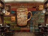 Milk and Coffee Wall Mural Custom Food Store Wallpaper Wood Pattern Coffee 3d Retro