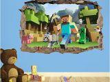 Minecraft Bedroom Wall Mural Minecraft 3d Kids Wall Sticker 3d Bedroom Boys Girls