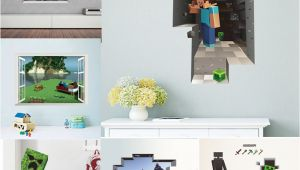 Minecraft Wall Murals Dropwow Cartoon 3d Vivid Minecraft Wall Stickers for Kids Rooms Art