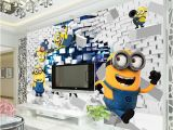 Minion Wall Mural 3d Minions Wallpaper Cartoon Despicable Me Wall Mural Silk