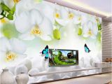Minion Wall Mural Modern Simple White Flowers butterfly Wallpaper 3d Wall Mural