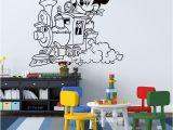 Minnie Mouse Wall Murals Baby Nursery Cartoon Train Cloud Mickey Mouse Wall Sticker Cute