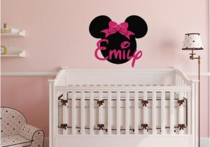 Minnie Mouse Wall Murals Minnie Mouse Wall Decals Girl Name Wall Decal Custom Name Wall