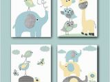 Minted Childrens Wall Murals Gray Blue Yellow Mint Baby Boy Nursery Prints Kids Art for