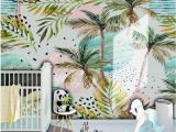 Minted Childrens Wall Murals Watercolor Handpainted Coconut Palm Nursery Children