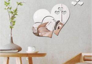 Mirror Murals Walls 2018 3d Mirror Love Hearts Wall Sticker Decal Diy Home Room Art
