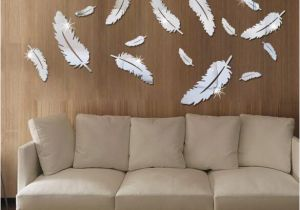 Mirror Murals Walls Feather Designed 3d Mirror Wall Stickers 3d Feathers Mirror Wall