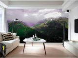 Misty Mountain Wall Mural Mountain Wallpaper Mural for Living Room Nature Landscape Wall Decal Mountains Wall Mural for Bedroom Custom Home Mural Sku