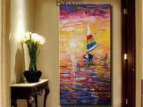 Modern Abstract Wall Murals 2019 Hand Painted Sunset Landscape Oil Painting Canvas Modern Abstract Seascape Painting Wall Art Decoration Home Gift From Chinaart2013