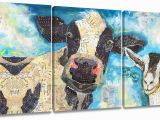 Modern Abstract Wall Murals Artkisser Modern Abstract Blue Cow Painting On Canvas Animal Paintings Cow Wall Decor Decoration Home Decor for Living Room Stretched and Framed Ready