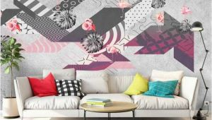 Modern Abstract Wall Murals Flamingo Abstract Geometric Minimalism Modern Wallpaper Wall