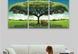Modern Art Murals for Walls 3 Panel Canvas Wall Art Green Tree Scenery Landscape Painting Modern Picture for Home Decor Living Room Bedroom Gift