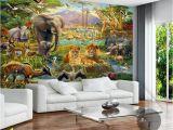 Modern Art Murals for Walls Custom Mural Wallpaper 3d Children Cartoon Animal World forest Wall Painting Fresco Kids Bedroom Living Room Wallpaper 3 D