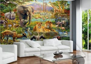 Modern Art Murals for Walls Custom Mural Wallpaper 3d Children Cartoon Animal World forest Wall Painting Fresco Kids Bedroom Living Room Wallpaper 3 D