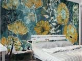 Modern Art Wall Mural Fantasy Fresh Blue Background Abstract Floral Pattern Gesang