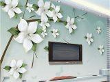 Modern Family Wall Mural Custom 3d Wall Mural Modern Simple Green Relief Jasmine Flowers