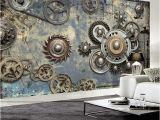Modern Family Wall Mural Wallpaper Modern Retro Mechanical Gear 3d Wall Murals Ktv Bar