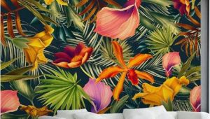 Modern Wall Mural Painting Custom Wall Mural Tropical Rainforest Plant Flowers Banana