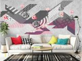Modern Wall Mural Wallpaper Flamingo Abstract Geometric Minimalism Modern Wallpaper Wall