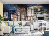 Modern Wall Murals Designs Amazon Murwall City Wallpaper Dark Cityscape Wall Mural