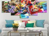 Modern Wall Murals Designs Wall Art Poster Modular Canvas 5 Pieces Mario Kart Cartoon Game Paintings Frameworks Decor for Living Room Hd Prints
