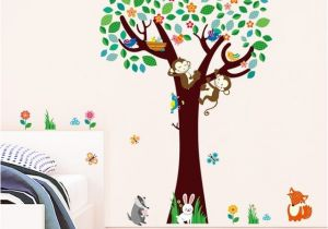 Monkey Murals for Nursery Decorative Kids Rooms Baby Nursery Bedroom Decor Monkeys Fox Birds