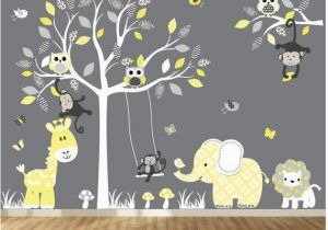 Monkey Murals for Nursery Jungle Wall Decal Tree Giraffe Elephant Monkey Nursery Wall Decal
