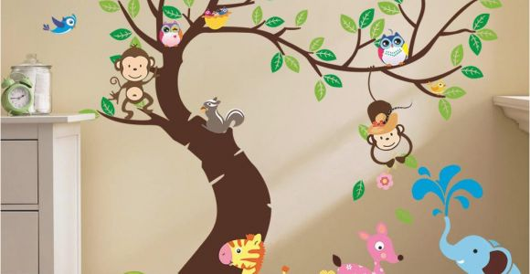 Monkey Murals for Nursery Oversize Jungle Animals Tree Monkey Owl Removable Wall Decal