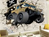 Monster Truck Wall Mural Großhandel Benutzerdefinierte Wandbild Tapete Cartoon Auto Gebrochene Wand 3d Kreative Kunst Wandmalerei Wohnzimmer Tv Hintergrund Tapete Für
