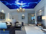 Moon and Stars Wall Mural Custom Mural Wall Paper 3d Stereoscopic Blue Sky Star Moon Wallpaper Living Room Bedroom Ktv Ceiling Murals Wallpaper Canada 2019 From