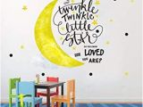 Moon and Stars Wall Mural Inspirational Wall Decals for Kids Twinkle Star Quote Bedroom Wall Decor Stickers Removable Nursery Vinyl Wall Art