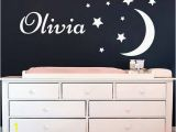 Moon and Stars Wall Mural Name Wall Decal Stars Wall Decals Vinyl Stickers Moon