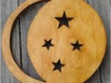 Moon and Stars Wall Mural Wall Mural Children Wood Moon and Stars Personalized Round or Square ornament Handcrafted Wood Star Night Light