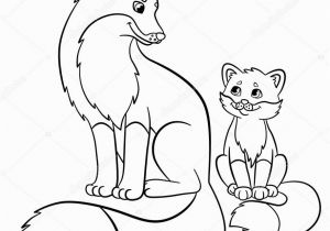 Mother and Baby Animal Coloring Pages Coloring Pages Wild Animals Mother Fox with Her Little Cute Baby