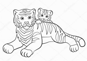 Mother and Baby Animal Coloring Pages Coloring Pages Wild Animals Smiling Mother Tiger with Her Little