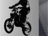 Motorbike Wall Murals Dirt Bike Rider Motorcycle Player Silhouette Wall Sticker for Kids