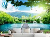 Mountain Lake Wall Mural Customized 3d Photo Wallpaper 3d Tv Wall Wallpaper Murals