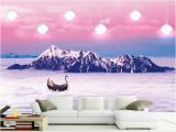 Mountain Mural On Wall Custom Size 3d Wallpaper Living Room Mural Snow Mountain Cloud Sea Scenery Picture Mural Home Decor Creative Hotel Study Wall Paper 3d Babe